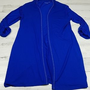 Soft Surroundings Long Open Cardigan Royal Blue